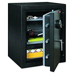 Half-hour fire rating; water resistant All heavy steel construction with textured finish Carpeted with 2 adjustable shelves Electronic lock; 9V battery required (included) 3 deadbolts; 4 live bolts