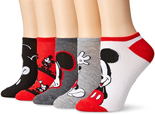 Disney womens Mickey Mouse 5 Pack No Show Casual Sock, Red Mickey, Fits Sock Size 9-11 Fits Shoe Size 4-10.5 US