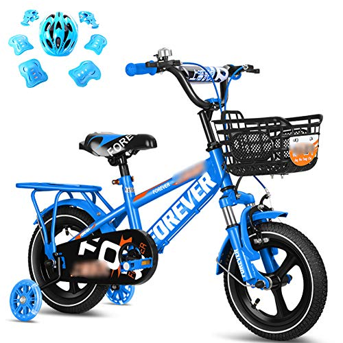 LINGYUN Boys/Girls Kids Bikes with Helmets, 12/14/16/18 Inch Children Bikes with Adjustable Seats, Training Wheels and Front Fork Shock Absorption for Outdoor Sports,Blue,14in