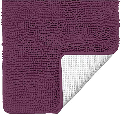 Gorilla Grip Original Luxury Chenille Bathroom Rug Mat, 24x17, Extra Soft and Absorbent Shaggy Rugs, Machine Wash Dry, Perfect Plush Carpet Mats for Tub, Shower, and Bath Room, Eggplant