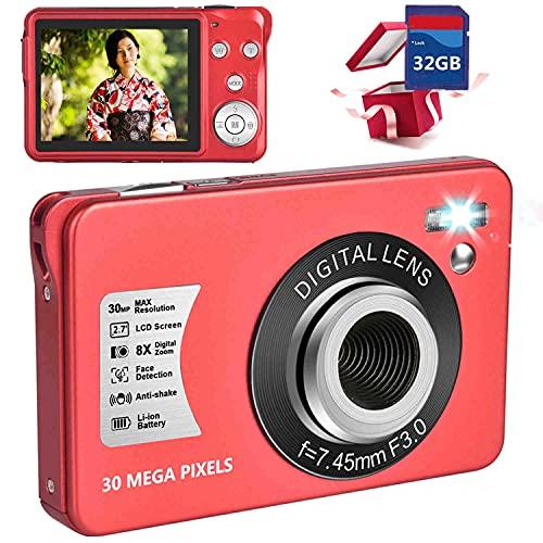 デジカメ デジタルカメラ コンパクトカメラ ポケットカメラ 小型カメラ 1080P 30MP 2.7インチスクリーン 子供向け 8倍デジタルズーム 32GB SDカード同梱 レッド