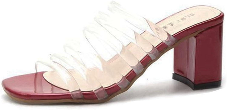 GIY Womens Open Toe Transparent Strap Heel Mules Sandals Slip On Peep Toe Chunky Block Heel Sandals