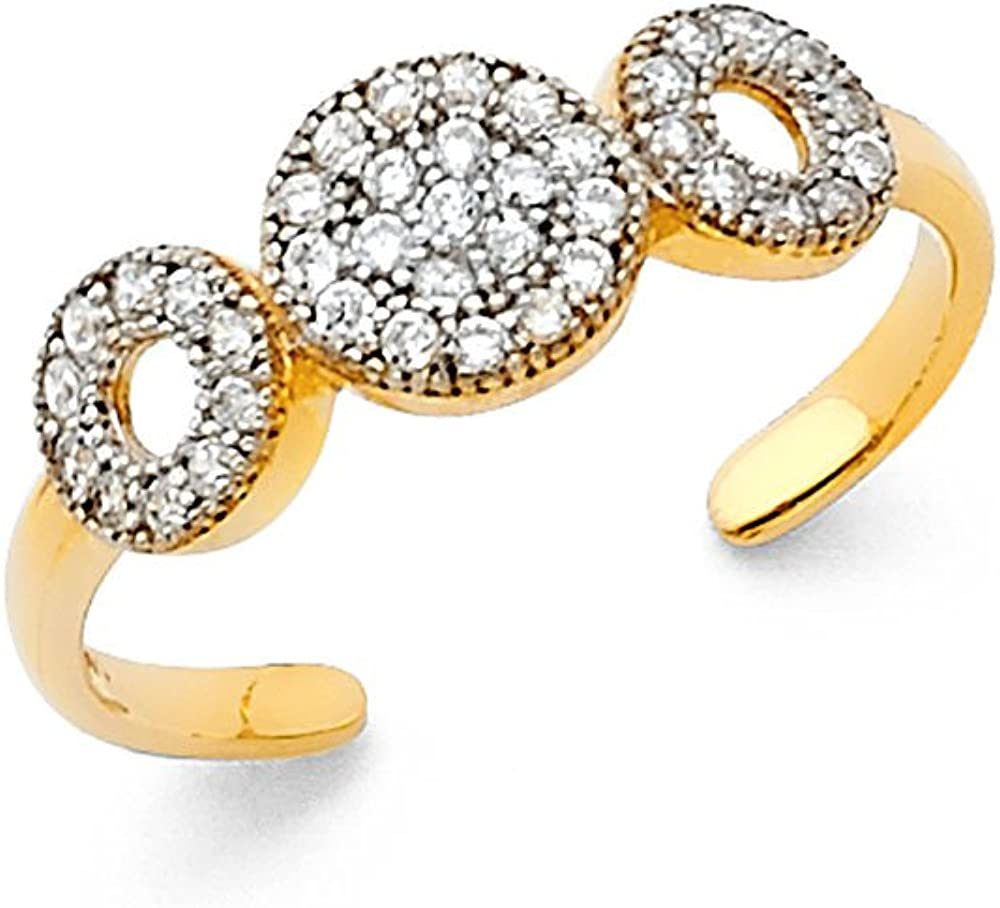 Jewels By Lux 14K Gold Circle Cubic Zirconia CZ Toe Ring One Size Fits All Adjustable