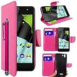 ebestStar - kompatibel mit Wiko Selfy 4G Hülle Kunstleder Wallet Case Handyhülle [PU Leder], Kartenfächern, Standfunktion + Stift, Pink [: 141 x 68.4 x 7.7mm, 4.8'']