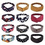 Frcolor Damen Stirnbänder 12 Stück Damen Kopfband Haarband Elastische Boho Blume Gedruckt Stirnbänder Twist Knoten Elastische Kopf