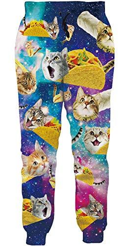ALISISTER Unisex Jogginghose Personalisiertes Galaxis Pizza Katze Design Hose Männer Frauen Lässige Sweatpants Sporttrainingshose mit Taschen XL