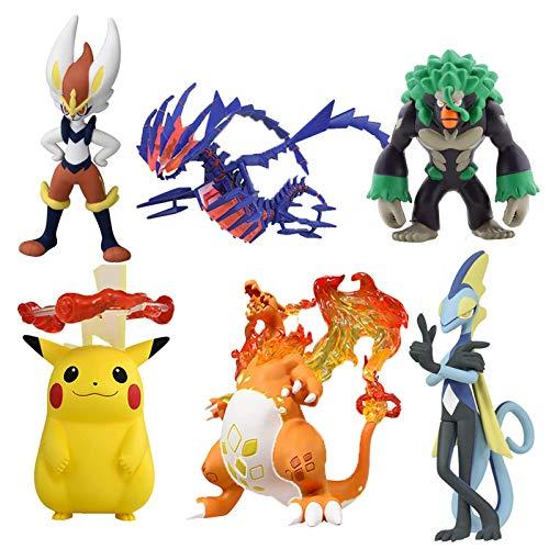 JINGMAI 6 Piezas Pokemon Figura De Acción Muñecas Espada Y Escudo EMC Modelo Toys Pikachu Rillaboom Charizard Eternatus Inteleon Regalo para Niños 5-10Cm