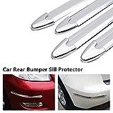 Maso, protezione universale per paraurti auto, protezione della carrozzeria in gomma, anti-sfregamento, 4 pezzi, colore: argento
