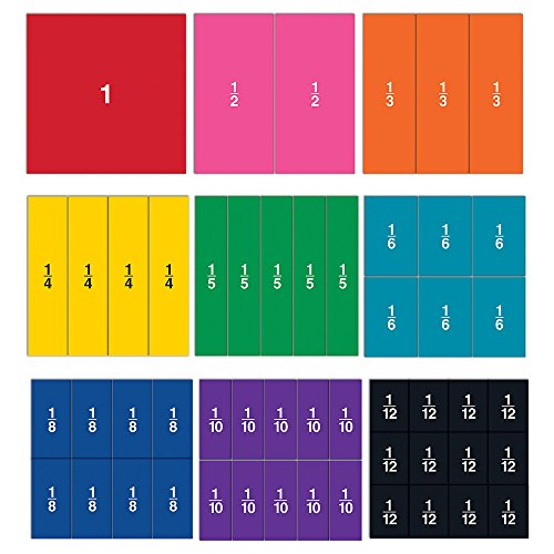 Learning Resources Double-Sided Magnetic Fraction Squares, Math Manipulations, 51 Pieces, Ages 6+