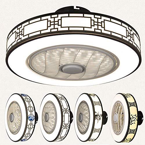 Ventilador LED Lámpara de Techo, 50cm 40W Ventilador Lámpara 3 Velocidades, 3 Colores Regulables, con Control Remoto, Dormitorio Sala Comedor Decoración Iluminación-Si