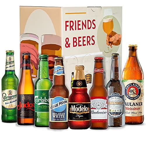 Cervezas del mundo degustación BEER 501 : Modelo, Budweiser, Santa Monica, Judas, Staroplamen, Paulaner, Carlberg, Blue Moon I Ideas para regalar - Cervezas Internacionales de importacion