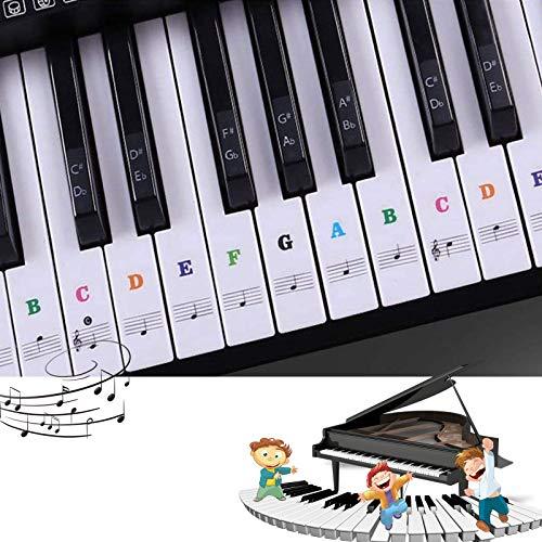 keyboard aufkleber,klavier aufkleber kinder,piano stickers for keys,Keyboard Noten Aufkleber für 37/49/54/61/88 Transparent Entfernbar, Premium Piano Keyboard Aufkleber Komplettsatz