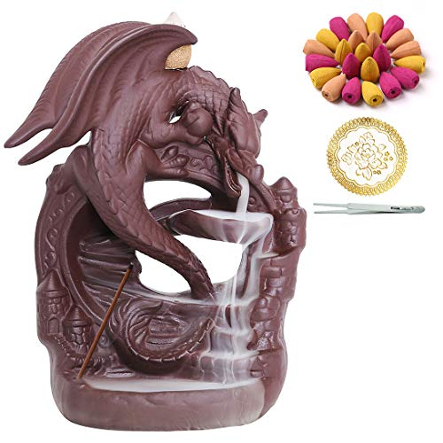 INONE Quemador de incienso de cerámica con 100 conos, soporte de incienso de reflujo de cascada, adorno de aromaterapia, decoración zen, decoración del hogar, decoración de la habitación