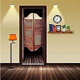 3D Door Sticker Door Stickers 2 Pcs/Set Retro Louvered Door Wall Diy Door Poster Bedroom Home Decor Poster Pvc Waterproof Door Wallpaper