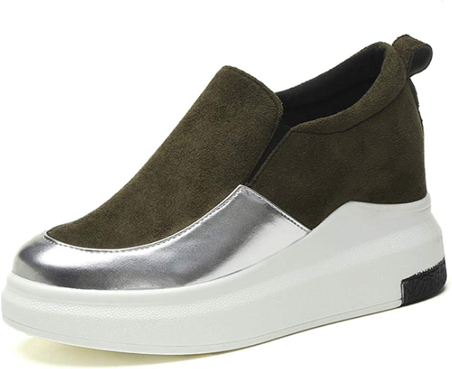 THBM Women Wedges Platforms Round Inside Heighten Slip-On Pumps Casual Thick shoes