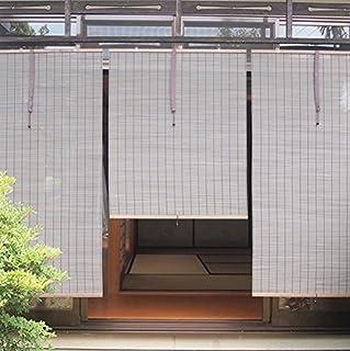 耐久・耐熱性に優れた、まるで天然竹素材のようなPVC樹脂製の防炎外吊りすだれ/くるっと付き(幅88cm 丈160cm)ダークブラウン