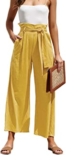 Womens Casual Crop Wide Leg Lace Up High Waisted Dress Pants with Fabric Belt
