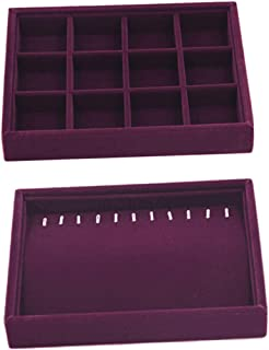 Prettyia 2Pcs Jewelry Display Showcase Organizer Holder for Necklace Bracelet Ring Earrings Jewerlry Storage - Purple
