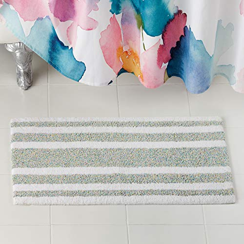 Bluebellgray Mingle Stripe Bath Rug, 21x34, Teal Multi