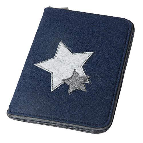 Mom's Organizer 'Sterne' mit rundum Reißverschluss für Mutterpass & U-Heft dunkelblau Farbe wählbar) | Filz Hülle in A5 als Uheft- und Mutterpasshülle