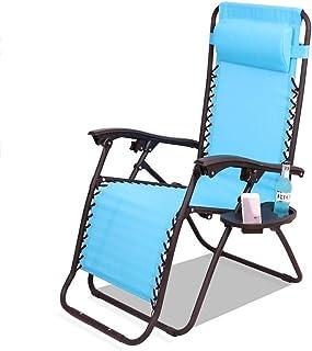 屋外重力リクライニング折りたたみポータブルリクライニングチェアガーデンテラスラウンジ寝室読書プレイゲーム瞑想1セット/ 2ピースセットブルー (Size : 1 pieces)