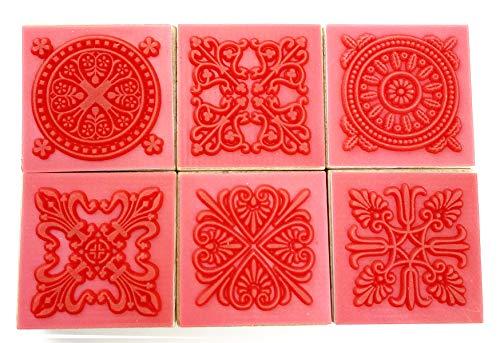 Becho Spitzenstempel mit Holzgriff, 6 Stück, verschiedene Muster, für Kunst, Handwerk, Kartenherstellung usw. (Spitzenmuster)