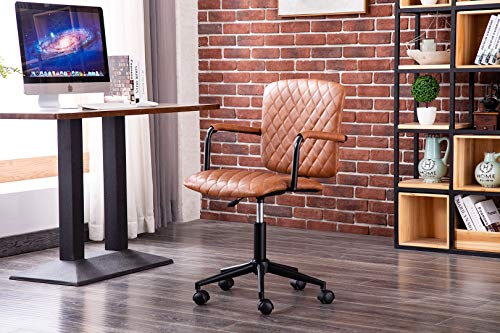Porthos Home Nels 360° Swivel Office Chair With Adjustable Height, Diamond Ribbed PU Leather Upholstery And Durable Roller Wheels (Ergonomic Armrests)