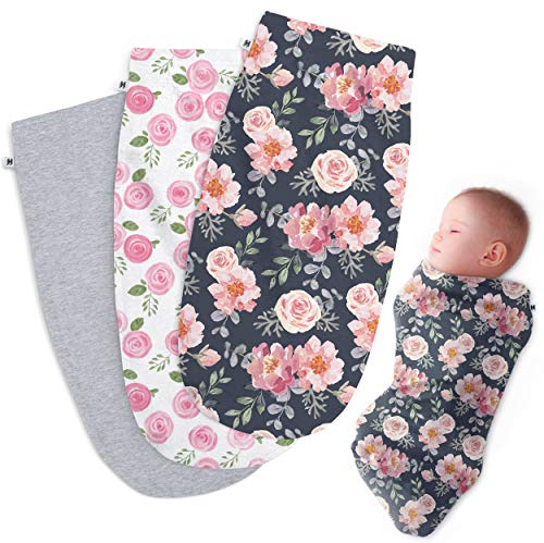 Henry Hunter Baby Swaddle Cocoon Sack | The Simple Swaddle | Soft Stretchy Comfortable Cotton Receiving Blanket for Infants amp Newborns 03 Months Garden | Rose | Light Heather