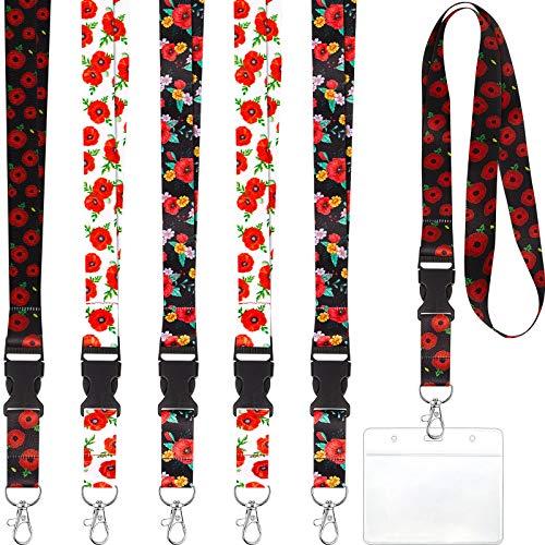 6 Sets de Cordón de Amapolas con Tarjetero, Incluye Cordones de Flores de Colores para Cuello y Soportes de Insignias Transparentes Tarjetero Transparente para Tarjeta de Identificación Llaves