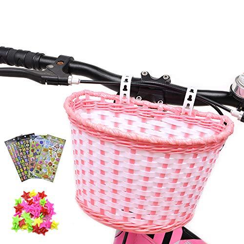 ANZOME Cesta de Bicicleta para niña, Manillar, Cesta de Bicicleta para niños con serpentinas para niños, Juego de Regalo para niños