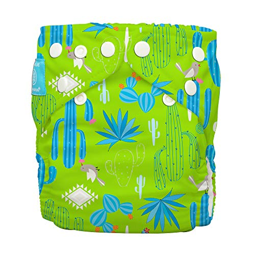 Charlie Banana Baby Premium Cloth Diaper System, Reusable and Washable, 1 Diaper and 2 Inserts, Cactus Verde, One Size