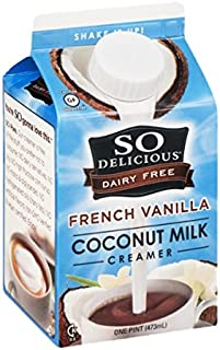So Delicious Dairy Free Coconut Milk Coffee Creamer, French Vanilla, 16 Fluid Ounce (Pack of 12)