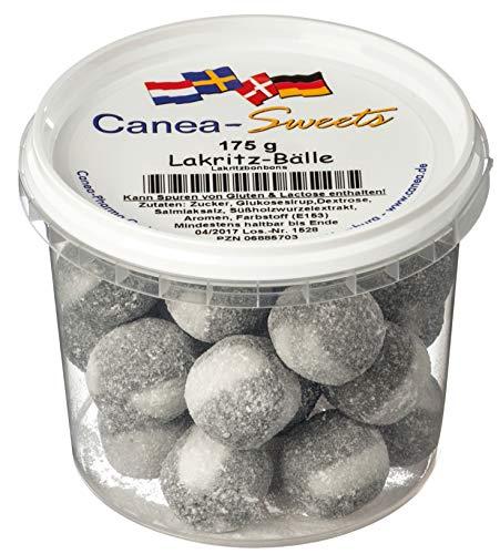 Canea-Sweets Gezuckerte Lakritzbonbons mit Pulverkern, CANEA Sweets Lakritz Bälle Dose, 1er Pack (1 x 175 g)