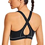 SYROKAN High Impact Criss Cross Sports Bras for Women High Neck Wirefree Full Coverage Padded Black 34C