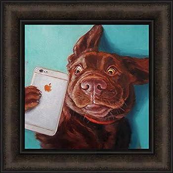 Dog Selfie by Lucia Heffernan 16x16 Chocolate Lab Labrador Retriever Apple Cell Phone Humorous Framed Art Print Wall Décor Picture
