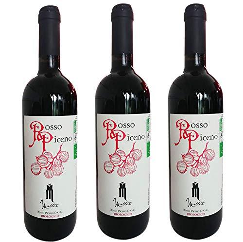 3 Bottiglie di Vino rosso Rosso Piceno Bio Doc,0,75 lt
