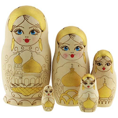 Azhna Matrjoschka, 5 Stück, Souvenir, Matroschka, Heimdekor-Kollektion, ineinander verbrannte und handbemalte russische Puppe, 10,5 cm, Holzpuppe (Gelb)