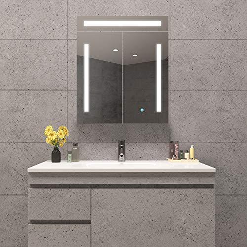 Qiyang 600 x 700 MM Badezimmer beleuchteter Spiegelschrank mit LED-Licht Umweltfreundlicher kupferfreier Spiegel LED-Lagerschrank Dimmbarer Touch-Schalter Antibeschlag Medizinschrank mit Licht