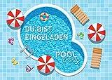 JuNa-Experten 12 Einladungskarten Kindergeburtstag Schwimmbad Mädchen Jungen Jungs...