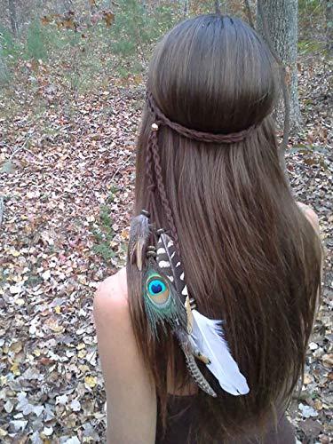 Ushiny 1920s Feder Stirnband Indianer Federn Kopfschmuck Boho Hippie Kopfschmuck Haarschmuck für Frauen und Mädchen (Grün und Weiß)