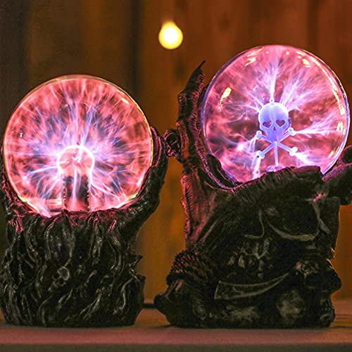 Uonlytech Luz de bola de plasma de Halloween, luz de cristal con sensor táctil y mano de calavera, luz de mesa de Halloween para dormitorio de mesa
