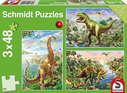 Schmidt Spiele 56202 Abenteuer mit den Dinosauriern, 3x48 Teile Kinderpuzzle
