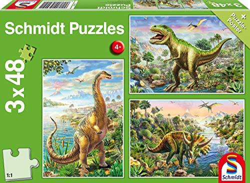 Schmidt Puzzel 56202, groen, avontuur met dinosaurus, 3x48 delen