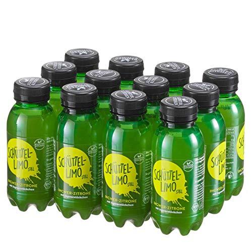 12er Pack Kloster Kitchen Bio Schüttel-Limo Ingwer Zitrone, Frische Kick ohne Kohlensäure, mit Ingwerstückchen, 12x 250ml in EINWEG PET Flasche, vegan (Zitrone, 12er Pack)