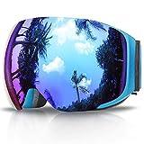eDriveTech-Gafas de Esquí, Anti Niebla OTG Gafas de Esquiar para Mujer Hombre Juventud Chicos Chica Protección UV Actualización Magnéticos Intercambiables Doble Capa Esférica Lentes Máscara Snowboard