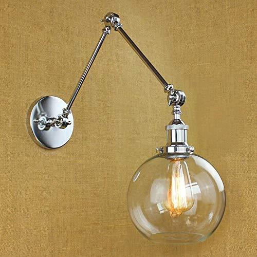 NIUYAO Industriale Lampade da Parete Paralume Vetro Globo Applique da parete Altalena Regolabile Mini Luce a Muro -Argento