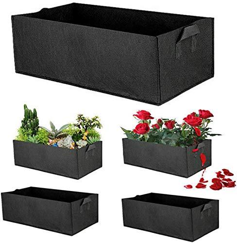 ADLOASHLOU 5 Pcs Sac de Plantation rectangulaire,Jardin Fleurs Plant Les Sacs Culture Pots,Grand Tissu Plantation Garden Grow Bags pour Les Légumes en Plein Air Fleurs Plant Growing Black
