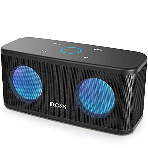 DOSS SoundBox Plus Altavoz Bluetooth Portátil con Sonido HD, Bajos Potentes,Sonido Estéreo, Micrófono, Manos Libres, y 20 Horas de Reproducción para Huawei, Xiaomi-Negro