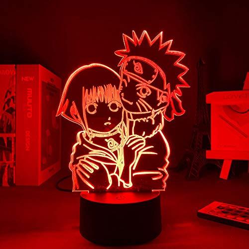 Luz de noche 3D Iluminación LED Anime Uzumaki Narutoed y Hinata Hyuga Regalo personalizado Día de San Valentín Regalo para novio lámpara de noche Decoración de habitación ZGLQ