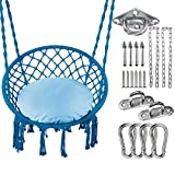 Greenstell Hammock Chair Macrame Swing with Cushion and Hanging Hardware Kits, Max 290 Lbs Hanging Cotton Rope Swing Chair, Comfortable Hanging Chairs for Indoor, Outdoor, Home, Patio, Yard (Blue)